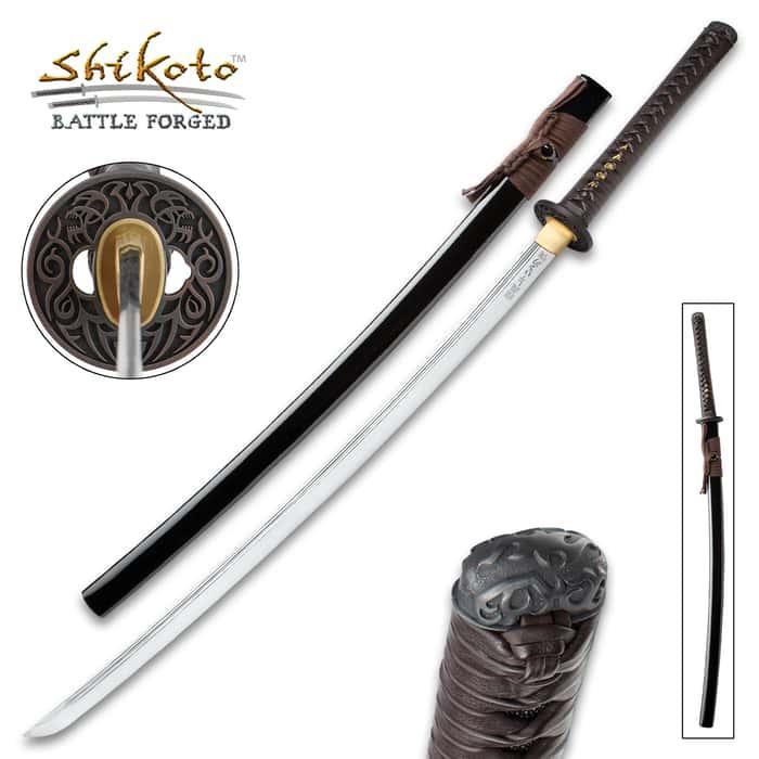 Shikoto Shikyo Handmade Katana / Samurai Sword - Hand Forged 1045 Carbon Steel; Engraved Bushido Code Kanji, Twin Fullers - Iron Tsuba, Genuine Ray Skin, Leather - Functional, Battle Ready, Full Tang