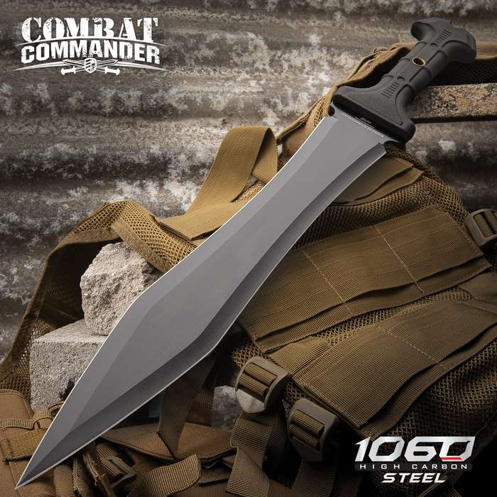 "United Cutlery Combat Commander Full-Tang Gladiator Sword With Nylon Belt Sheath - Gladius, Machete - 1065 High Carbon Steel, Piercing Point - 24"" Length"