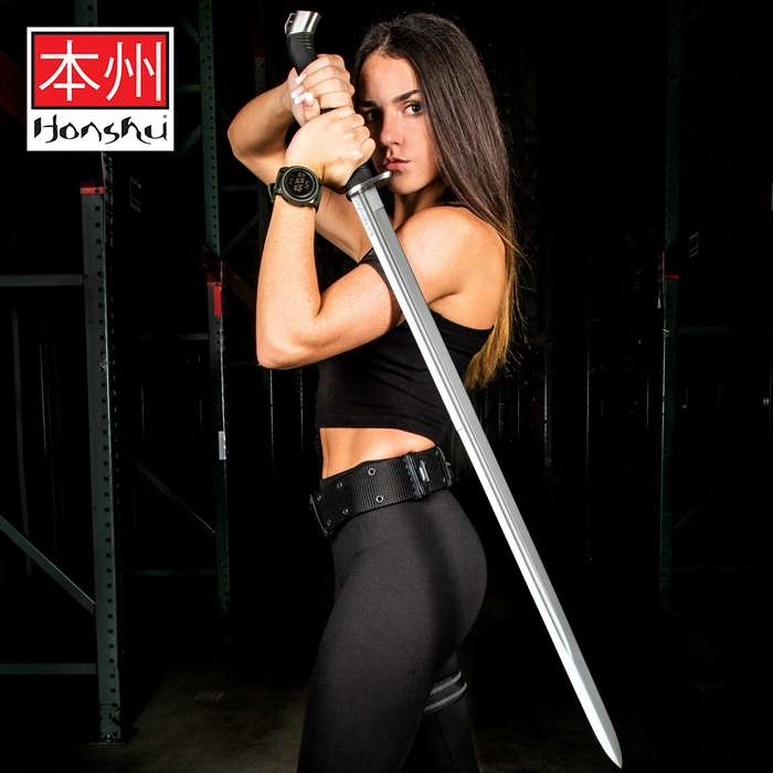 """Honshu Boshin Double Edge Sword With Scabbard - 1060 Carbon Steel Blade, TPR Textured Handle, Stainless Guard And Pommel - Length 40 13/16"""""""