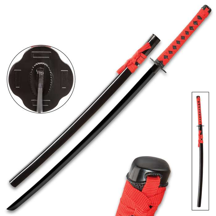 """Black And Red Dojo Training Katana - Black Stainless Steel Blade, Red Cord Wrapped Handle, Lacquered Wooden Scabbard - Length 38"""""""
