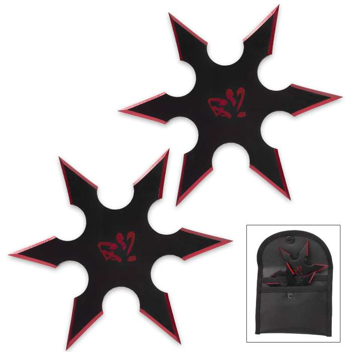 On Target Twin Six-Pointed Throwing Star Set with Nylon Pouch | Kanji Accents | Metallic Red Edges
