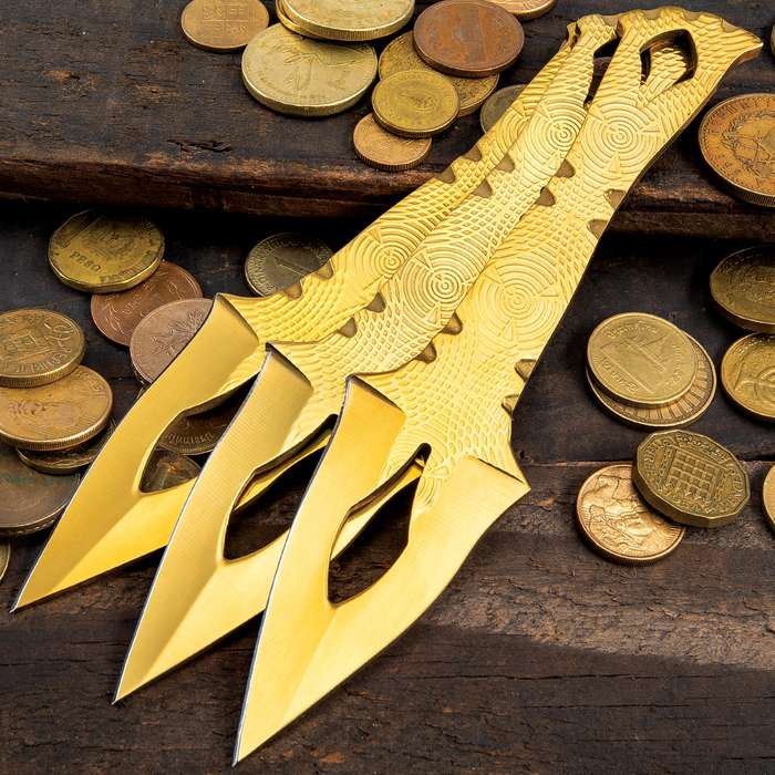 """On Target Three-Piece Aztec Gold Throwing Knife Set With Sheath - Stainless Steel Construction, Titanium Coating - Length 6 4/5"""""""
