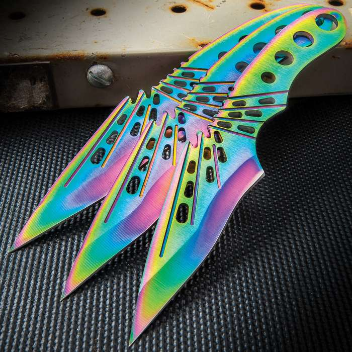 """Three-Piece Rainbow Fantasy Throwing Knife Set With Sheath - Stainless Steel Construction, Titanium Coated - Length 6 1/2"""""""