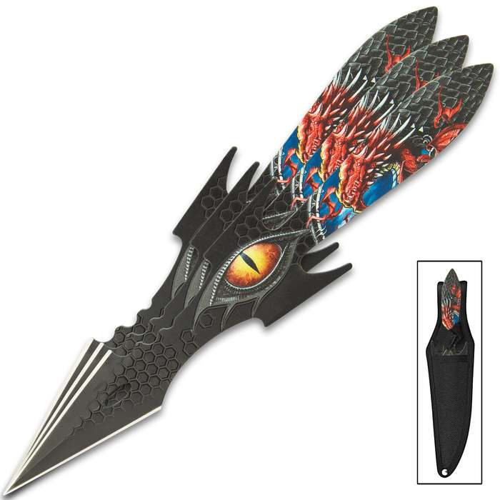 The Dragon Eye Throwing Knife Set makes a great addition to any fantasy collection! Striking, though it may be, this eye-catching set of throwing knives aren't just for display