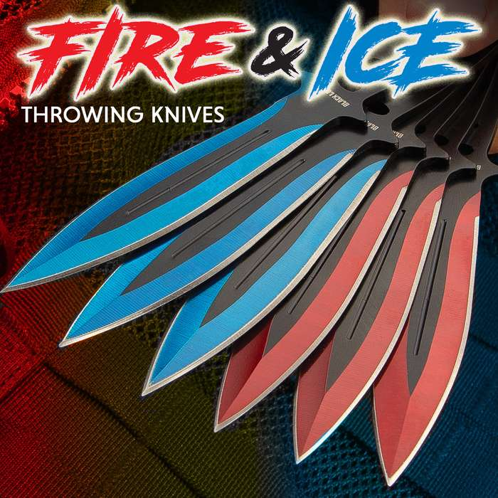 """Black Legion Fire And Ice Throwing Set With Pouch - 12 Knives, One-Piece Stainless Steel Construction, Six Blue, Six Red - Length 5 3/4"""""""