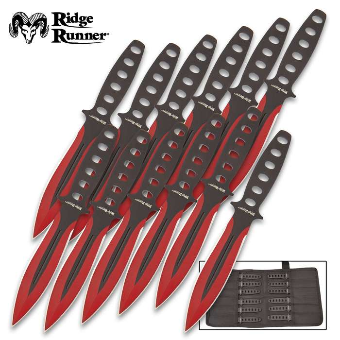 Ridge Runner Searing Red Throwing Set With Pouch - 12 Knives, One-Piece Stainless Steel Construction, Penetrating Point - Length 5 3/4""