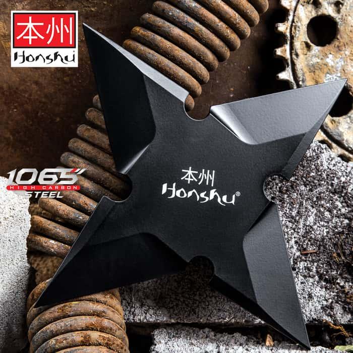 Honshu Sleek Black Throwing Star - Large