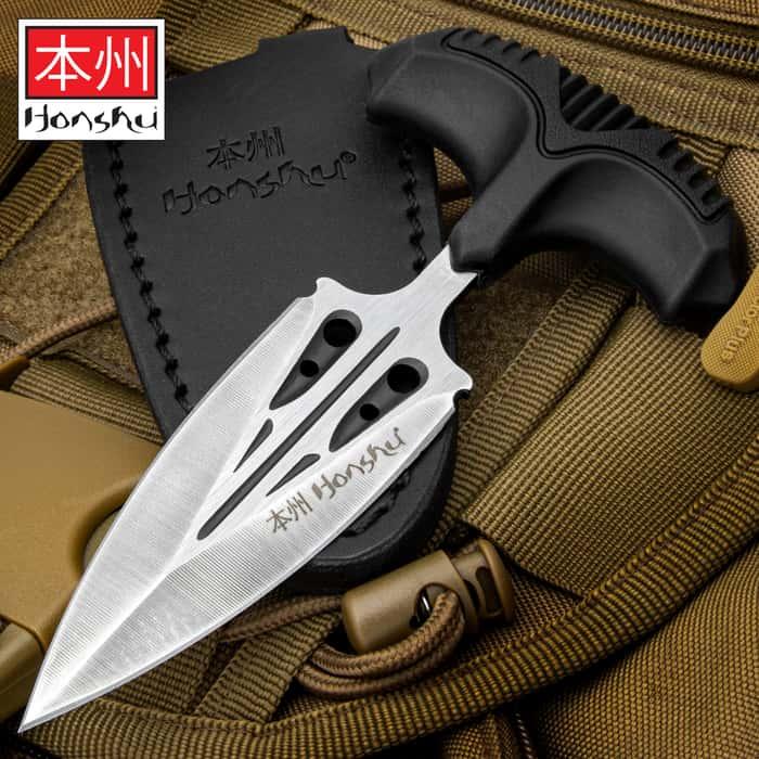 "Honshu Large Covert Defense Push Dagger And Sheath - 7Cr13 Stainless Steel Blade, Molded TPR Handle - Length 5 7/8"""