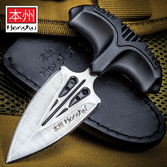 """Honshu Small Covert Defense Push Dagger And Sheath - 7Cr13 Stainless Steel Blade, Molded TPR Handle - Length 4 3/4"""""""