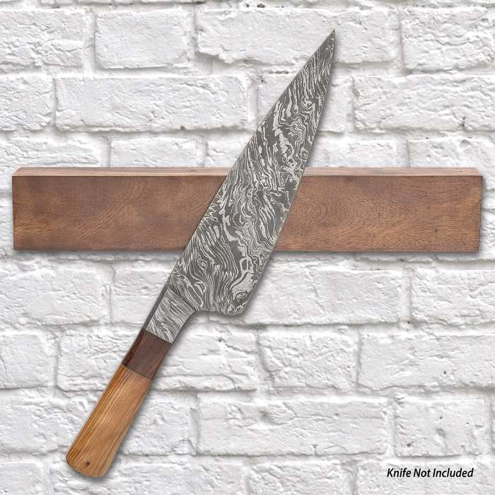 """Hanging Magnetic Knife Block - Genuine Mango Wood Construction, Drilled Mounting Holes - Dimensions 12""""x 2 1/4"""""""