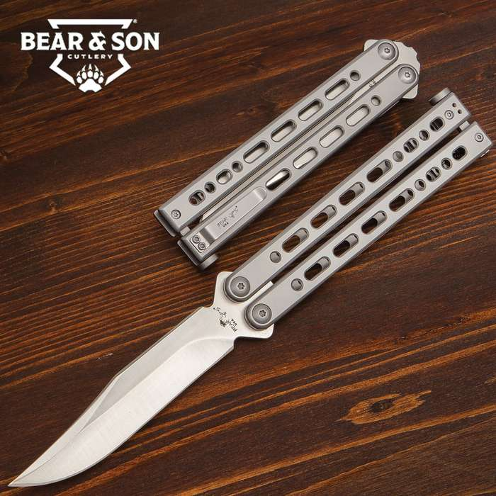 Bear Song VIII Grey Butterfly Knife - 154CM Steel Blade, Stainless Steel Handle, Cerakote Finish, American Made - Length 9 1/2""