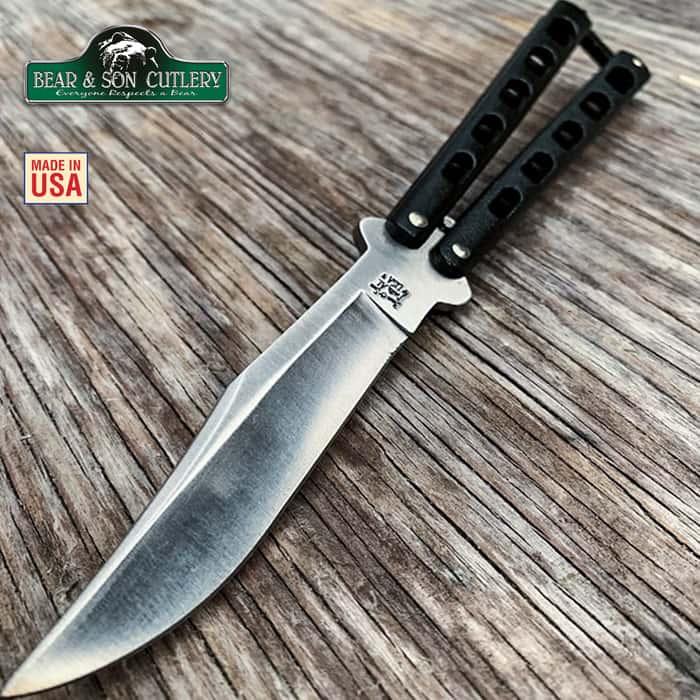 Bear & Son Butterfly Knife Black Die Cast Handle