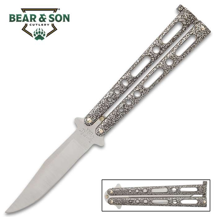Our easy-to-maneuver Bear & Son Silver Vein Handle Butterfly Knife makes expanding and perfecting your flipping skills a cinch