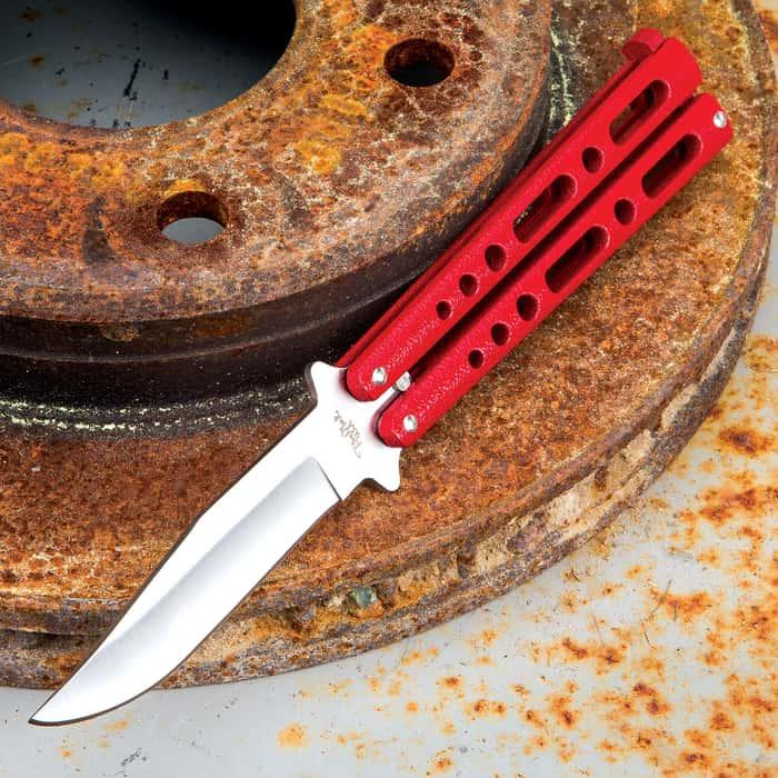 Red Satin Skeleton Butterfly Knife - Stainless Steel Blade, Die Cast Metal Handles, Locking Mechanism, USA Made