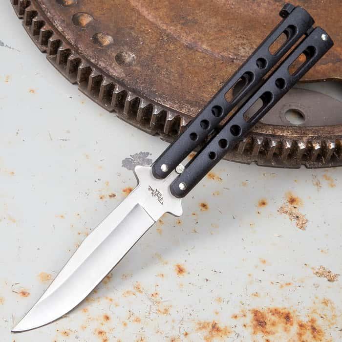 Black Skeleton Butterfly Knife - Stainless Steel Blade, Die Cast Metal Handles, Locking mechanism, USA Made