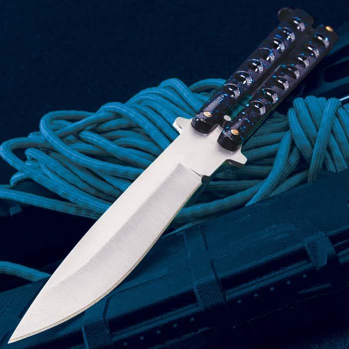 """Blue Speed Demon Butterfly Knife - Stainless Steel Blade, Skeletonized Steel Handle, Brass Pins, Latch Lock, Double Flippers - Length 9"""""""