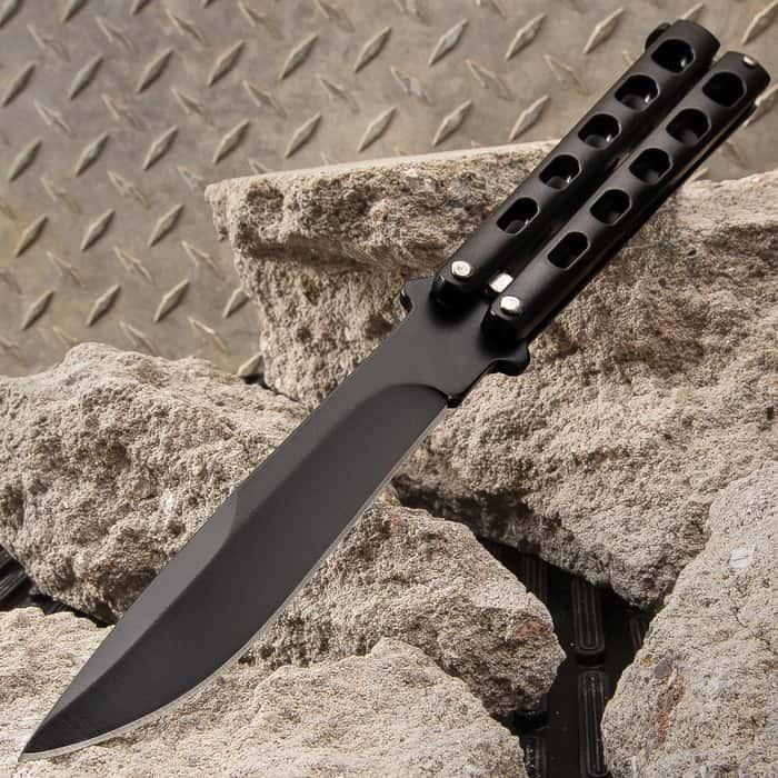 "Black Slotted Butterfly Knife - Stainless Steel Blade, Skeletonized Steel, Latch Lock, Steel Handle - Length 9"""