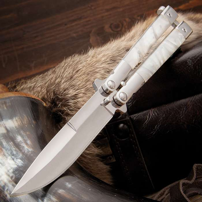 """Classic Pearl Butterfly Knife - Stainless Steel Blade, Pearl Handle, Stainless Bolsters, Latch Lock, Double Flippers - Length 7 3/4"""""""