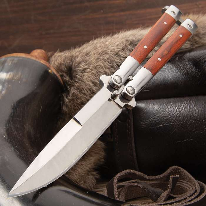 """Classic Wooden Butterfly Knife - Stainless Steel Blade, Wooden Handle, Stainless Bolsters, Latch Lock, Double Flippers - Length 7 3/4"""""""