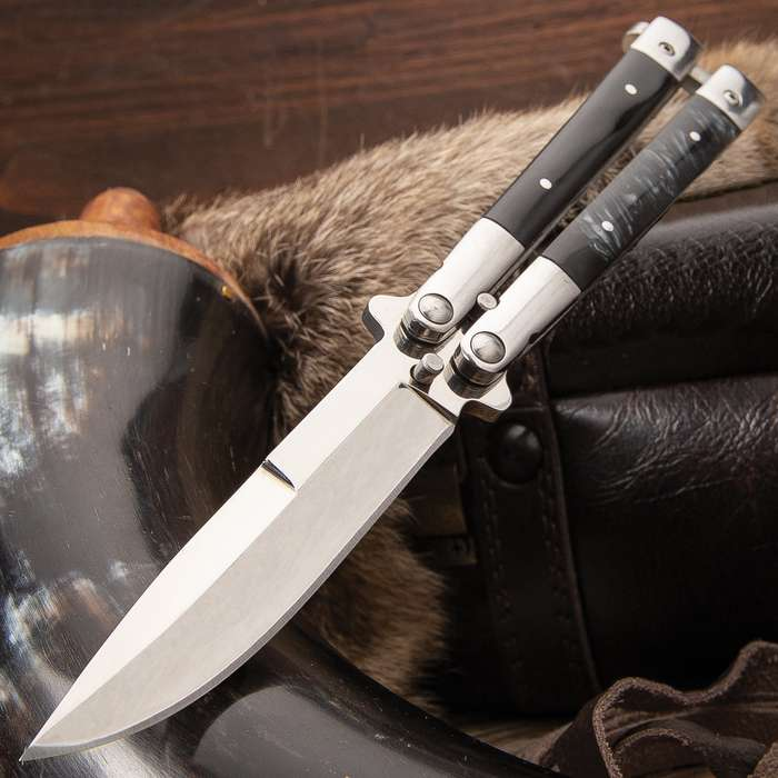 """Classic Black Butterfly Knife - Stainless Steel Blade, ABS Handle, Stainless Bolsters, Latch Lock, Double Flippers - Length 7 3/4"""""""