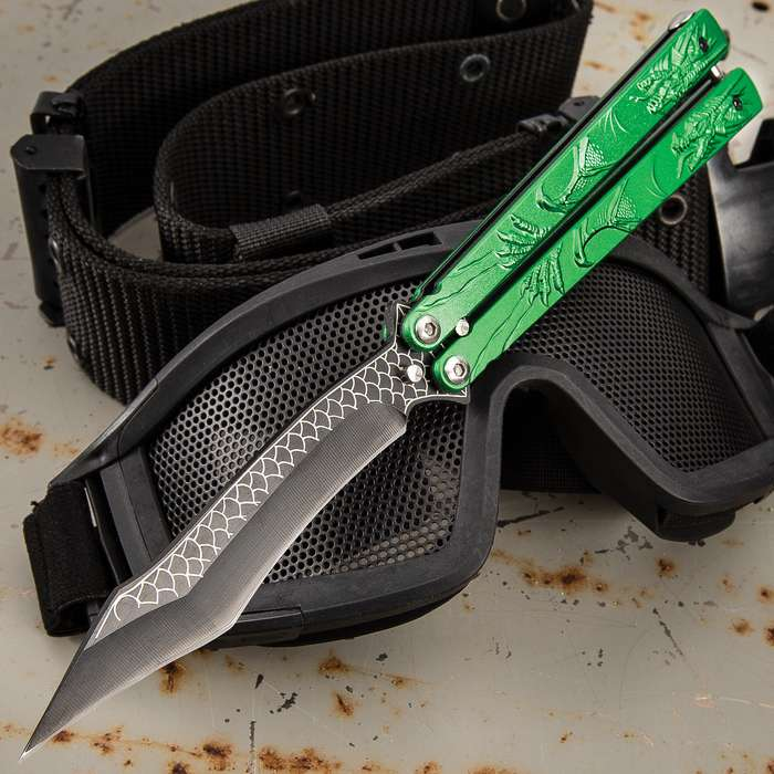 """Green Dragon Butterfly Knife - Stainless Steel Blade, Molded Steel Handle, Latch Lock, Double Flippers - Length 9 1/4"""""""