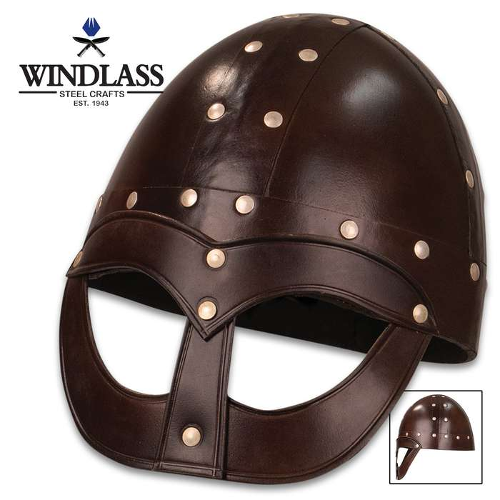 Perfect for Norse costumes and reenactment, the replica Vendel Viking Helmet is a copy of the Viking Gjermundbu type