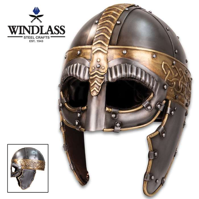 Embracing the Gjermundbu type of Viking helm, this replica Norseman Helmet would be perfect for a Viking chieftain