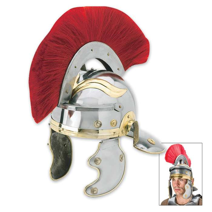 Roman Centurion Helmet With Red Horse Hair Crest