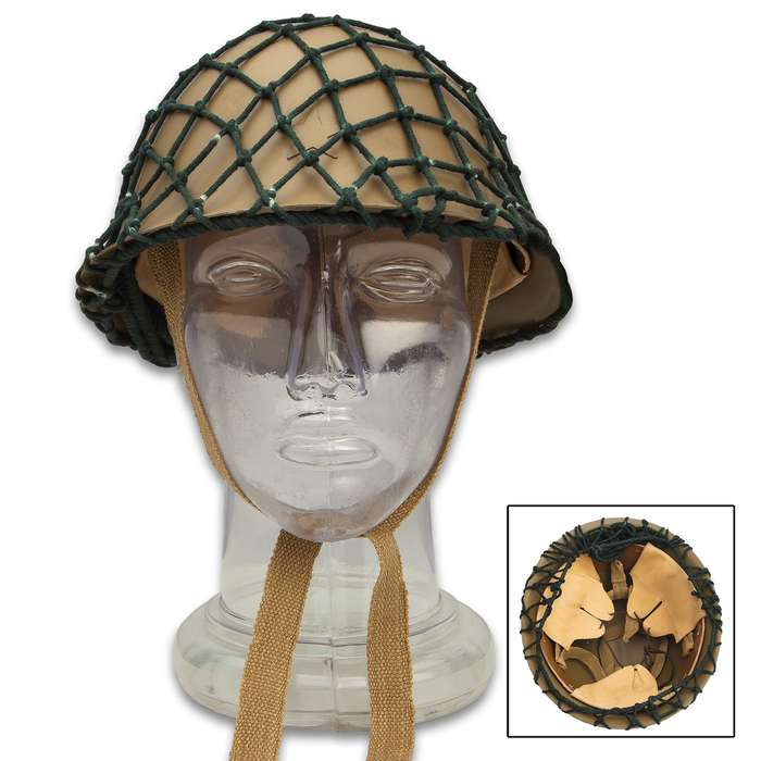 Japanese WWII Army Tetsubo Helmet - Quality Reproduction, 18-Gauge Metal Construction, Leather Liner