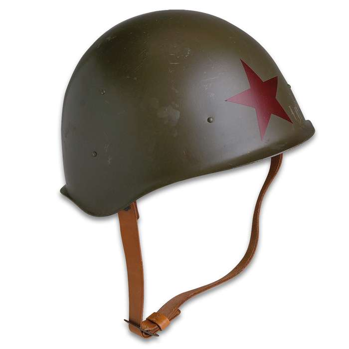 Military Surplus Red Army M52 Helmet Reproduction - World War II Style  - Steel Pot; Red Star; Leather Suspension, Chin Strap - Military History Collections Display Tactical Costume - USED