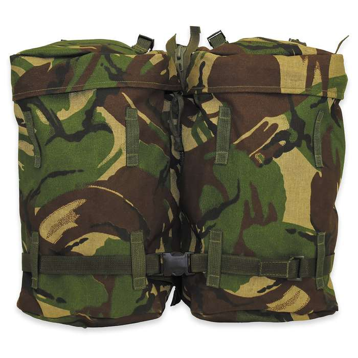 This military surplus pack is a versatile system that can worn a variety of ways including separated into two daypacks
