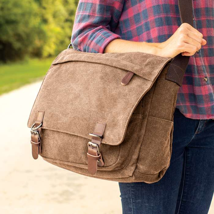 Outback Traveler Messenger Bag - Canvas Construction, Soft Lining, Spacious Interior, Leather Accents, Multiple Pockets, Metal Hardware