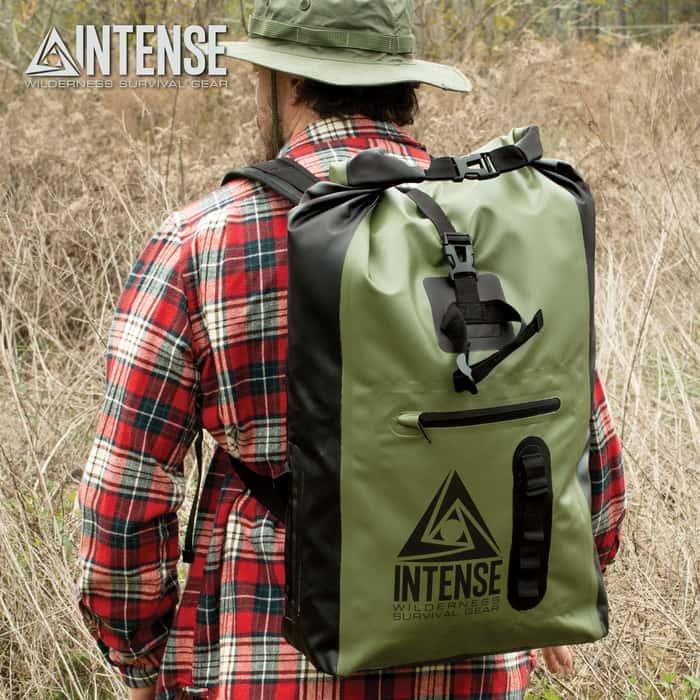 "Intense Waterproof Drybag Backpack - 35L Capacity, PVC Tarpaulin Construction, Nylon Webbing Straps - Dimensions 23 2/5""x 12 2/5""x 7 1/2"""