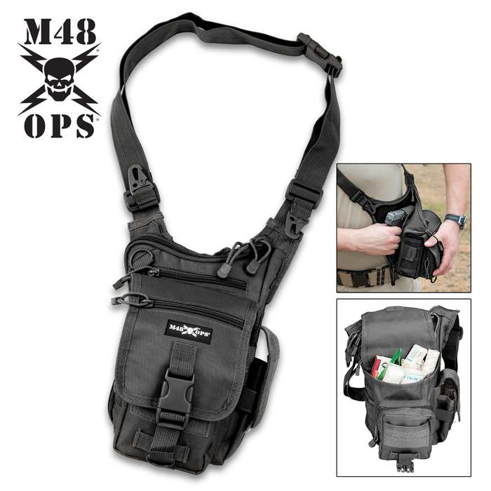 M48 Sentinel Concealed Carry / Multipurpose Bag, Adjustable Sling / Strap - 600D Polyester - Discreet Back Panel Weapon / Pistol Compartment, Elastic Sleeve; Multiple Accessory Compartments, Clips