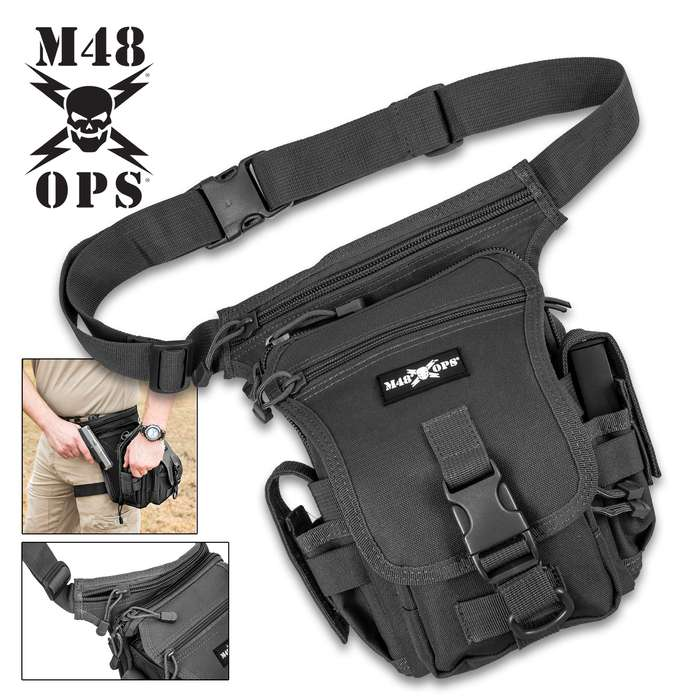 M48 Sentinel Compact Waist Concealed Carry Pistol Sling Pack - Canvas Construction, Secures One Pistol, Clip And Accessory Pockets, Waist And Thigh Straps