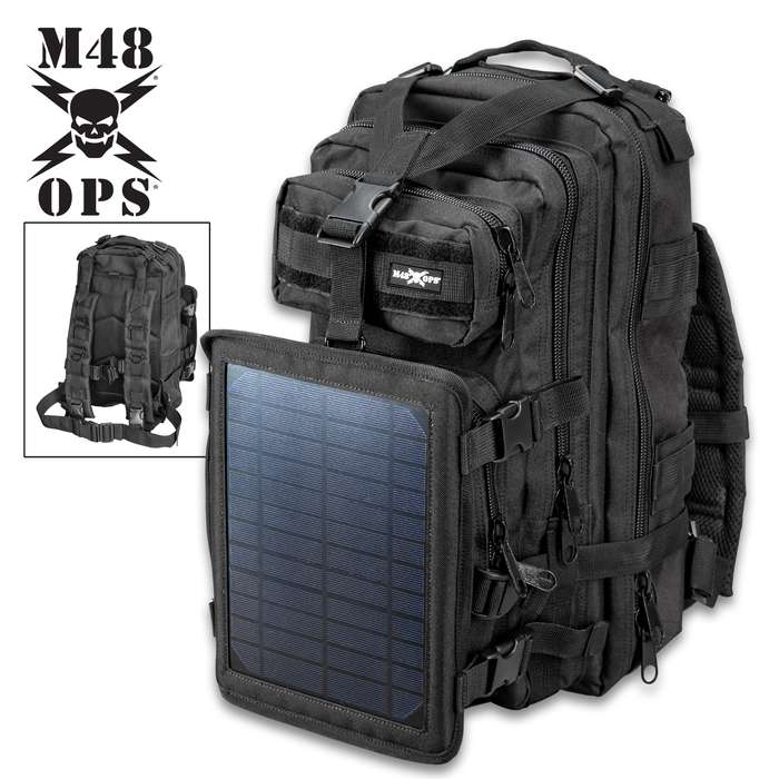 M48 OPS Tactical Solar Panel Backpack - Charges Device Via USB Port, Made of 600D Oxford Material, MOLLE Straps, ABS Hardware
