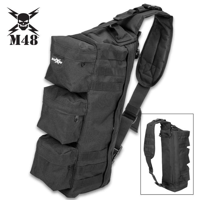 "M48 Black Military Style Shoulder Sling Bag - Tough Canvas Construction, Multiple Pockets, Nylon Webbing Straps - Dimensions 22""x 11"""