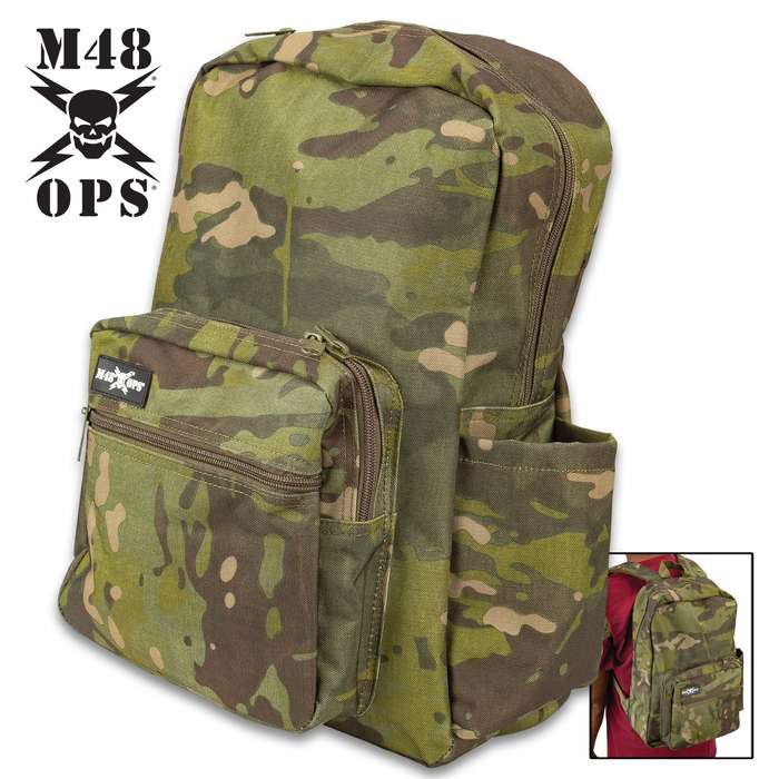 "M48 Mission Ready Bug-Out Backpack - Camouflage 600D Oxford Construction, ABS Buckles, Heavy-Duty Zippers - Dimensions 18 1/2""x 12 1/2"""