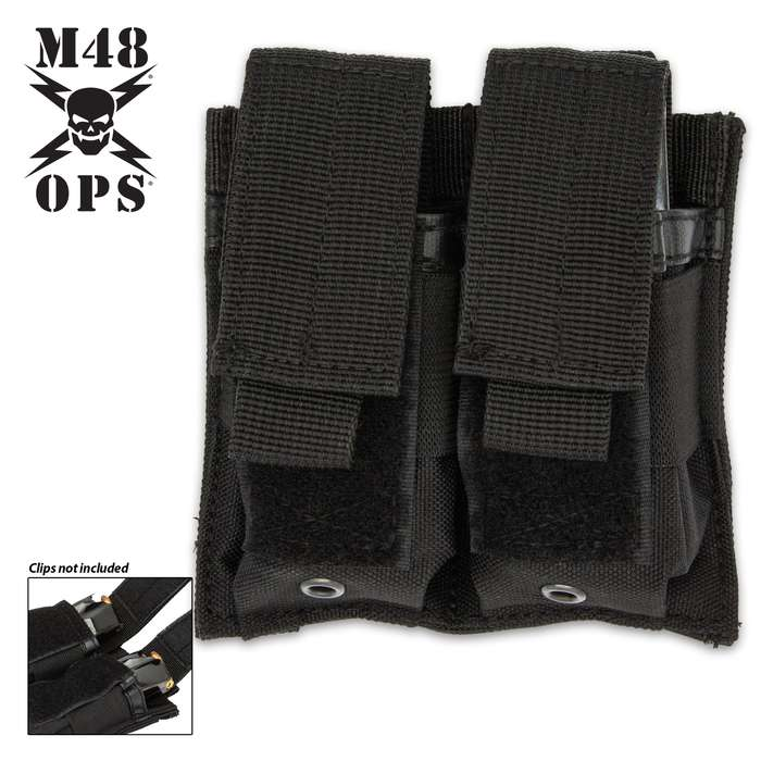 The M48 Black MOLLE Double Pistol Mag Pouch with its MOLLE attaches easily to gear and offers a simple storage option