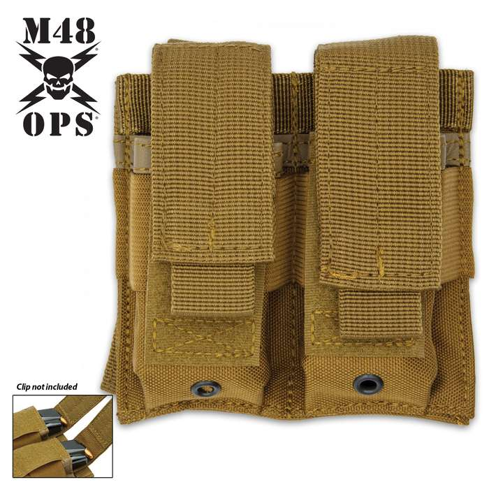 The M48 Coyote Brown MOLLE Double Pistol Mag Pouch with its MOLLE attaches easily to gear and offers a storage option
