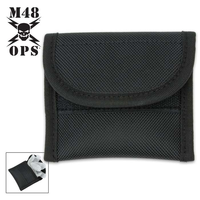 """The M48 Heavy-Duty Latex Glove Pouch holds one pair of gloves and is ideal for duty belts up to 2 1/4"""" in width"""