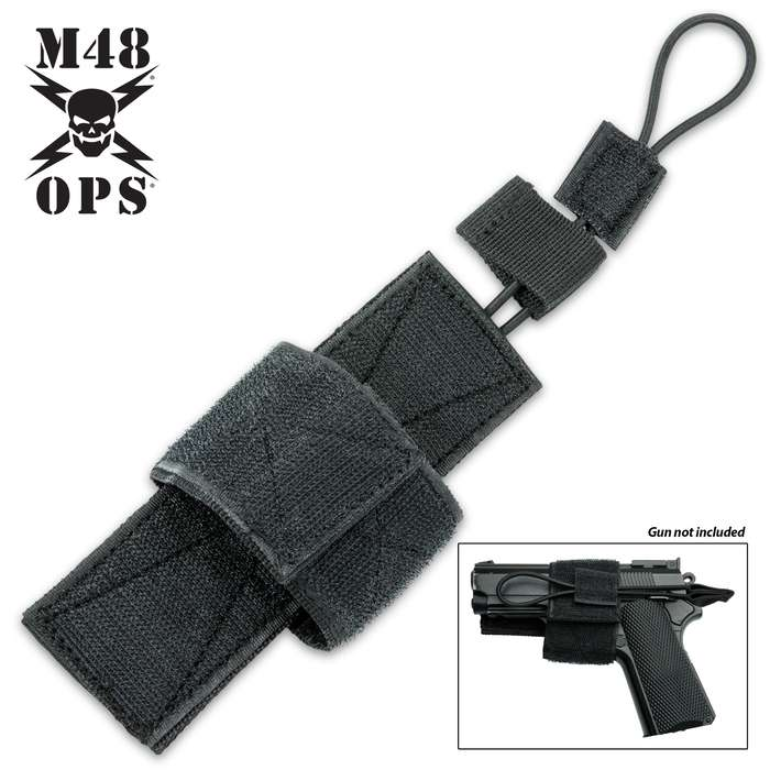 """The universal holster features a 6""""x 2"""" hook back that will attach to any loop surface on your tactical vest, pack or bag"""