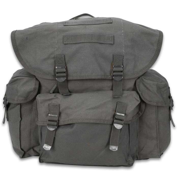 The spacious Mil-Tec NATO Rucksack is 100-percent cotton, black canvas with nylon webbing straps and buckles and a drawstring top