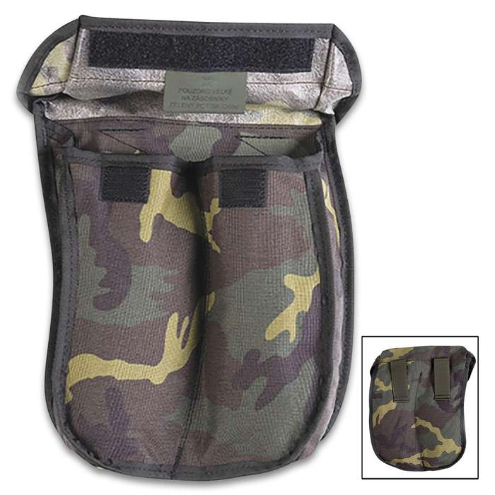 The Czech M95 Camo AK Magazine Pouch is a high-quality military surplus pouch that's in used but great condition