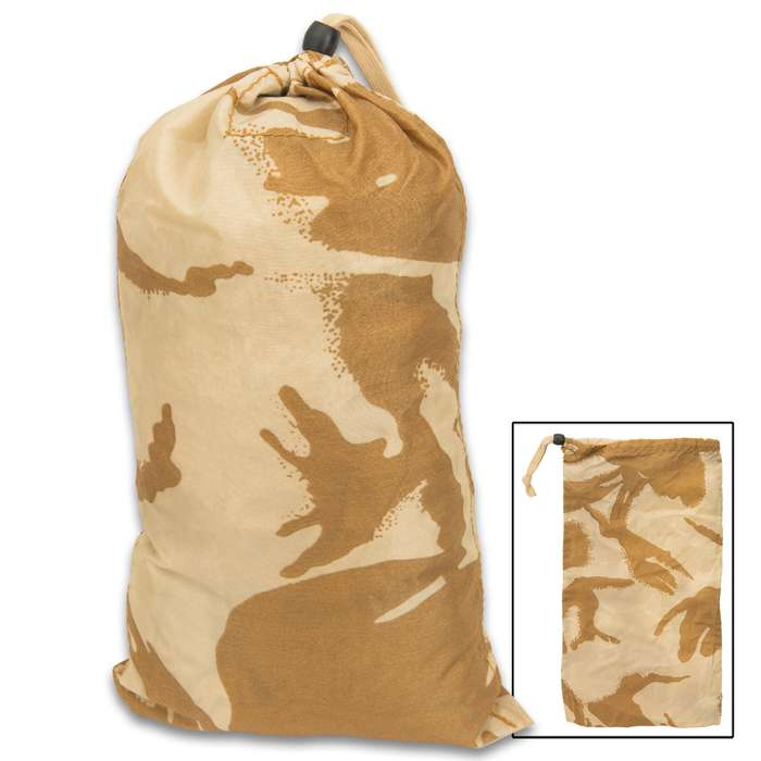 This military surplus British Desert Camo Water-Resistant Bag is great for a variety of uses from camping to outdoor recreation