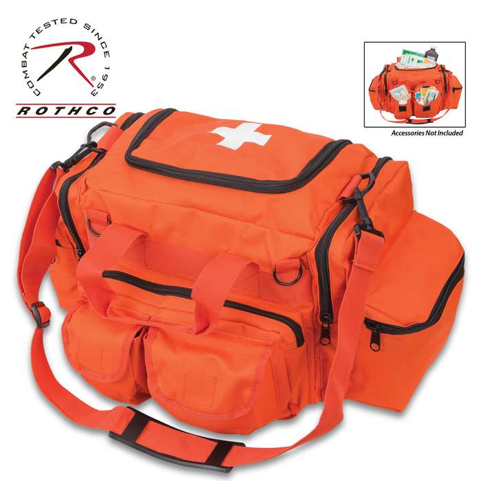 Rothco Emergency Orange EMT Bag - 600D Polyester With PVC Coating, Eight Pockets And Pouches, Adjustable Shoulder Strap