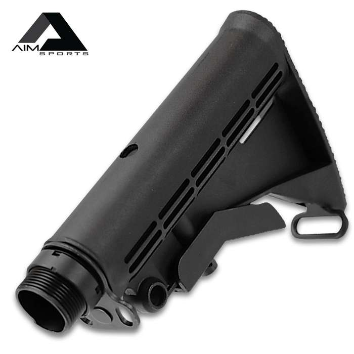 AIMS M4 Style Six-Position Collapsible Stock Assembly - Mil-Spec, Aluminum And Polymer Construction, Ambidextrous Sling Mount