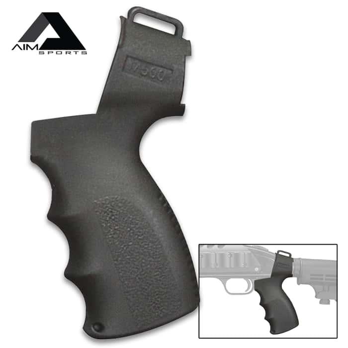 "Mossberg 500 Pistol Grip - Polymer Construction, Ergonomic Design, Drop-In Fit, Accepts AR-15 Buffer Tubes - Length 8 4/5"""