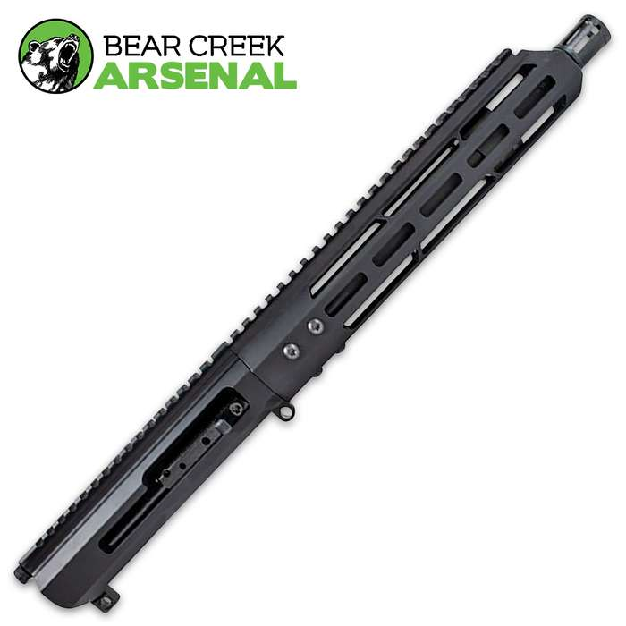 The .350 side charging upper assembly is a low-recoil cartridge that is effective for hunting deer, mountain lions, and wild boar