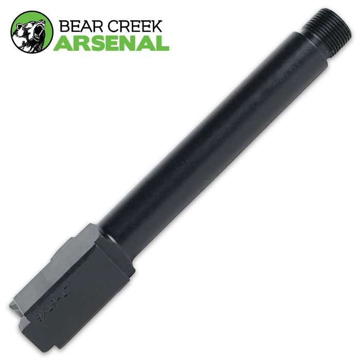The BCA Threaded Replacement Barrel for OEM Glock 17 handguns is manufactured by Bear Creek Arsenal in Sanford N.C.